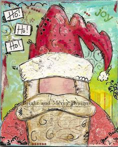Raining Grace - Christmas cards  Mixed Media  Santa Clause