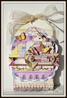Tara Orr shows her favorite embellishment on this gorgeous tag. #BoBunny, #C'est La Vie, #Tara Orr