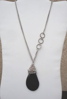 Silver chain with a large Black Onyx Pendant by LolasCustomJewelry, $29.00