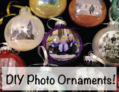 DIY Photo Ornaments, All you need is: Clear plastic bulb - Grab them through Amazon http://geni.us/24st, Floor Polish, Glitter - Grab it through Amazon http://geni.us/2A04, 2 1/2 laser jet photo on regular paper