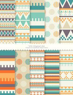[Digital Paper Aztec Digital Scrapbook Paper Pack by VNdigitalart, $3.00]