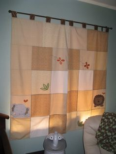Childs Curtains Jungle Theme Lion and Elephant 51 by slumbersoft, $50.00