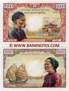 South Viet-Nam   1000 Dong (1955) (Old man; sampan; woman)