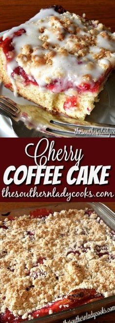 PRINT Cherry coffee cake is delicious! If you like something sweet with your morning coffee, try this cherry coffee cake for a real treat. This would be good as a dessert with ice cream, too. Köstliche Desserts, Delicious Desserts, Yummy Food, Yummy Snacks, Yummy Yummy, Breakfast Cake, Breakfast Recipes, Breakfast Items, Cake Candy