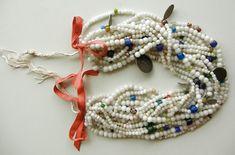 Antique trade bead, Spanish Colonial Coin, religous medallions wedding necklace