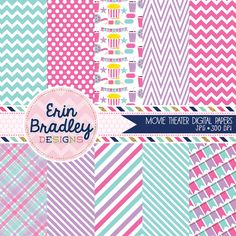Instant Download Personal & Commercial Use Movie Theater Pink, Purple & Blue Digital Papers Pack Graphics
