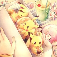 this is a cute pokemon anime wallpaper. There is a lot of pikachus inside your lunch box. There are other tinny pokemon as well.