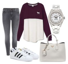 """Untitled #6"" by rukhsana-kamal on Polyvore featuring Victoria's Secret, J Brand, adidas, Prada and Rolex"