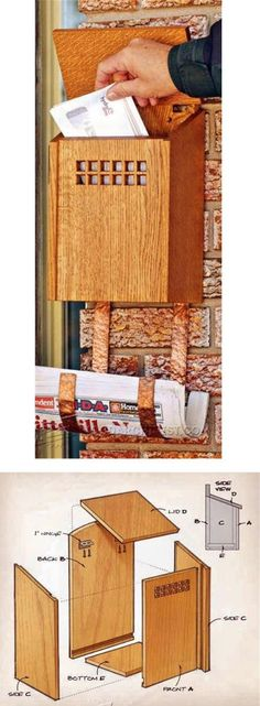 Wooden Mailbox Plans - Woodworking Plans and Projects | WoodArchivist.com Easy Woodworking Projects, Woodworking Basics, Woodworking Furniture Plans, Woodworking Techniques, Woodworking Wood, Wooden Mailbox, Diy Mailbox, Wooden Diy, Small Wood Projects