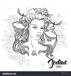 Zodiac Libra Girl Coloring Page