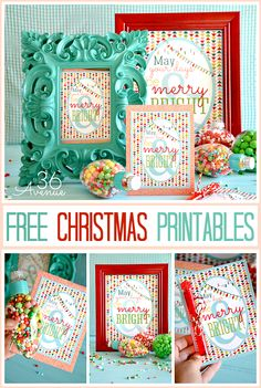 Free Christmas Printable | The 36th AVENUE... Love how they filled ornaments with candy... Would be cute to add to tables for take home gifts, we could add to the Christmas Eve boxes, we could decorate a small tree with them and let kids take home, or we could add to the stockings