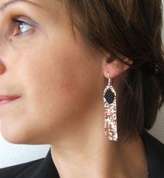 Boucles d'Oreilles Femme avec Tissage en Perles et Franges Micro-Paillettes ( Toile Glitter) Or Rose et Noir : Boucles d'oreille par emma-shop