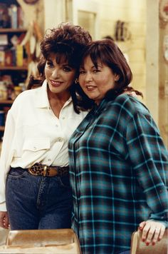With Roseanne Barr in 1993 Roseanne Barr, Joan Collins, Tv Shows, Celebrities, Jeans, Style, Fashion, Swag, Moda