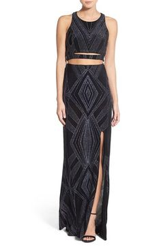 Jump Apparel Glitter Cutout Gown available at #Nordstrom