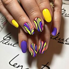 Beautiful nail art designs that are just too cute to resist. It's time to try out something new with your nail art. Funky Nail Art, Funky Nails, Trendy Nails, Stylish Nails, Colorful Nails, Nagel Stamping, Nail Polish, Nail Swag, Super Nails