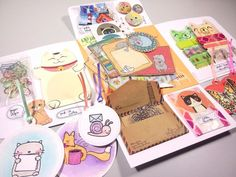 embellishments for your art or junk journal swap 4 - re-send snail mail flip book package