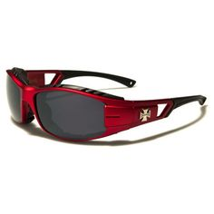 Choppers Mens Padded Motorcycle Riding Goggles Cherry and Black with Gray Lens Man Pad, Red Sunglasses, Choppers, Cherry, Lens, Menswear, Motorcycle, Gray, Black