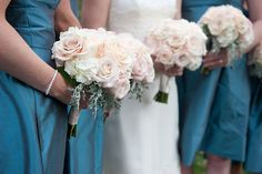 Bridesmaid's bouquets in ivory, grey and blush