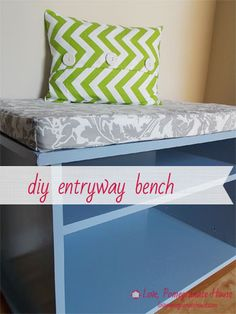 DIY Entryway Bench idea using a Goodwill TV stand -- I like this but i would have to make the cushion out of nylon so i could wipe it off thanks to dogs and husband