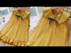 Designer baby frock with peter pan collar very easy cutting and stitching. - YouTube Baby Frock Pattern, Frock Patterns, Baby Dress Patterns, Girls Frock Design, Kids Frocks Design, Baby Frocks Designs, Frocks For Girls, Dresses Kids Girl, Girl Outfits