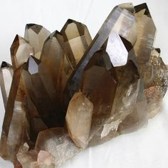 Smoky Quartz crystals cluster