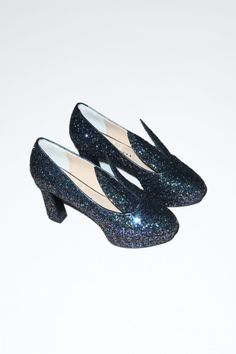 """Minna Parikka Hare Heel Dreamy, slip-on encrusted sequin high heel platforms with sweetheart cutout. 3 1/2"""" pointy bunny ears. Full leather lining. 100% Leather. Made in Spain. Measurements: 3 1/4"""" Heel 1"""" Platform"""