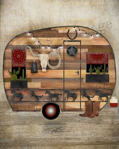 Western Style Camper Art 8x10 Printable download by MarysMontage Halloween Bottle Labels, Image Internet, Christmas Typography, Picture Frame Decor, Southwest Art, Marianne Design, Christmas Fun, Christmas Images, Printable Art