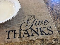 Burlap is so versatile! It fits so many styles; shabby chic, eclectic, rustic, contemporary, natural... the list goes on. Spice up your table settings with these hand lettered burlap place mats. They