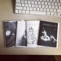 """Got a seawitch zine haul from @clementinemorrigan today. Thank you Clementine! . . . . [photo of four small black and white zines laying on top of each other on a desk next to a keyboard. The two that are visible say """"seawitch"""" on them. One has a picture of a unicorn with a mermaid tail and the other has a mermaid with legs. ]"""
