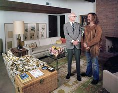 David Crosby (right) standing with his father, cinematographer Floyd Crosby (1899-1985) in his father's house in Ojai, California. IMAGE: JOHN OLSON/THE LIFE PICTURE COLLECTION/GETTY IMAGES