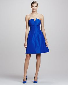 Strapless A-line Party Dress, Royal Blue  by Monique Lhuillier at Bergdorf Goodman.
