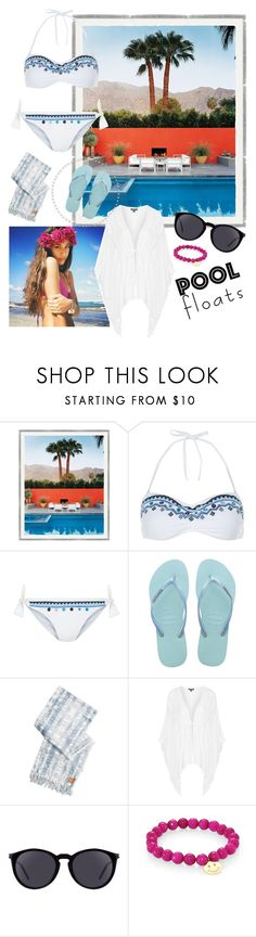 """pool 🙌🏼"" by aycanyl ❤ liked on Polyvore featuring Accessorize, Havaianas, Billabong, Topshop, Yves Saint Laurent and Sydney Evan"