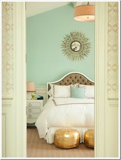 Friday Eye Candy: Calming Bedrooms beige wallpaper in hall, colored wall inside