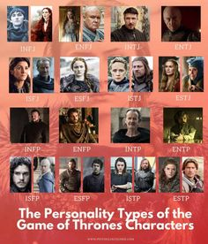The Myers-Briggs® Personality Types of the Game of Thrones Characters - Psychology Junkie Entp Personality Type, Character Personality, Myers Briggs Personalities, 16 Personalities, Infj Characters, Personality Questionnaire, Mbti Functions, Infp Quotes