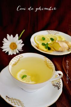 Photo about Ginger tea with lemon and mint in a white cup on dark background. Image of plant, dish, citrus - 98317136 Tea Cafe, White Cups, Ginger Tea, Cold Drinks, Diy Kitchen, Lemon, Health Fitness, Pudding, Breakfast
