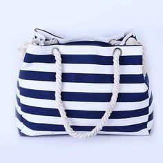 """""""Dark Blue & White Striped"""" Summer Canvas Bag"""
