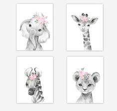 Safari Animals Baby Girl Nursery Wall Art Decor Pink Floral Elephant G… Safari Nursery, Baby Nursery Decor, Nursery Wall Art, Baby Girl Room Decor, Elephant Nursery Girl, Baby Wall Decor, Baby Room Art, Baby Animal Nursery, Baby Girl Nursery Decor