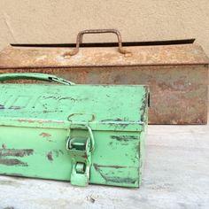 Vintage minty seafoam green rustic 14 metal by romaarellano