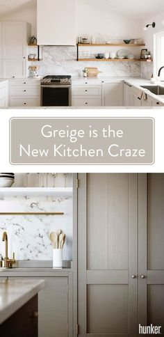 Greige is a little bit gray, a little bit beige — and a whole lotta flexible. Cooler than taupe, but warmer than a straight gray, it's right there in the magical middle, where it can help bring subtle contrast to an all-white kitchen or a gentle coun Beige Kitchen Cabinets, Kitchen Cabinet Colors, Built In Cabinets, Painting Kitchen Cabinets, Kitchen Redo, Beige Kitchen Paint, Kitchen Cabinet Refacing, Cabinets To Go, Kitchen Cupboard