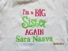I'm a BIG Sister AGAIN Custom embroidered tshirt or by lateedatees, $21.00