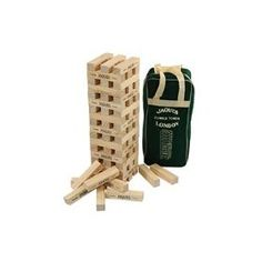 A superb giant-sized version of this popular indoor game. Jaques Giant Tumble Tower can build a tower over 4 feet tall! Handcrafted using New Zealand pine from sustainable sources and complete with canvas carry bag, Jaques Giant Tumble Tower is a great game for the whole family. Block size 210 x 47 x 40 mm. (approx. 8 1/4 x 1 3/4 x 1 1/2 inches)