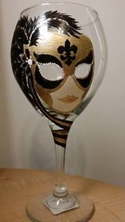 Hand painted black & gold mardi gras wine glass by J.Villa/Storybookcoach