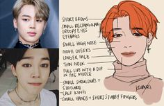 How to draw the characteristic features of Park Ji-min (박지민) of BTS (방탄소년단) in fanart. || By ALLY  • crunchtime (@kkumrii) on Twitter. | kkumri on Tumblr.