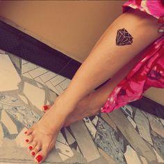 diamond tattoo #ink #youqueen #girly #tattoos #diamond Girly Tattoos, Small Tattoos, Diamond Tattoos, Rough Diamond, Tattoo Ink, Piercings, Beauty, Female Tattoos, Uncut Diamond