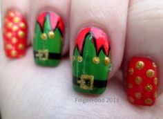 Elf Bells by FingerFood  www.facebook.com/fingerfoodnail http://fingerfoodnails.blogspot.co.uk/2013/12/the-12-days-of-xmas-challenge-day-5.html