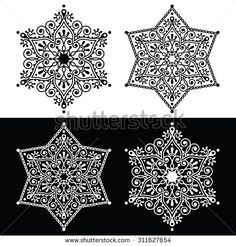 Christmas snowflake decoration - embroidery style Mehndi, Indian Henna tattoo pattern or background by RedKoala #India