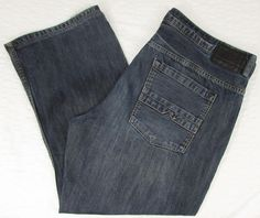 Men Buffalo Ruffer Jeans Relaxed Straight Leg Dark Wash Whisking sz 40 X 28 EUC #BuffaloDavidBitton #RelaxedStraightLeg