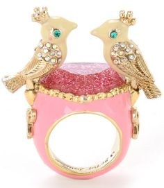 Betsey Johnson's Rose Garden Love Birds ring, kinda like Tiffany & Co.'s Bird on a Rock...or not...