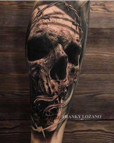 Artist @franky_lozano #realism #realismtattoo #sleevetattoo #toptattooartist #skulltattoo #skullwork #fullsleevetattoo…