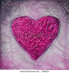textured acrylic painting of a pink heart, painting created by Andrea Haase ~ #Heart